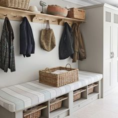 Design yourself a well-organised boot room with plenty of practical storage to act as a stylish transitional space for just-out-of-the-rain coats and muddy wellies%categories%Kitchen Boot Room, Hallway Designs, Home Decor, House Interior, Utility Rooms, Room, Mudroom Entryway, Room Design, Ideal Home