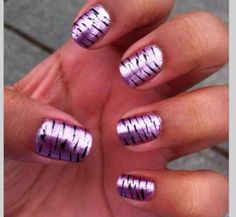 Purple zebra nails