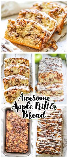 Awesome Country Apple Fritter Bread! Haveyou ever had an apple fritter transformedinto fluffy, buttery, white cake loaf with chunks of juicy apples and layers of brown sugar and cinnamon swirled inside and on top? Drizzle with some old-fashioned creme glaze and devour! It's so moist, so delicious and full of home-made goodness straight from yourheart, because why? Because YOUmade it! #apple #bread #quickbread #fritter #baking #fall #holidays #foodnetwork #bestapplebread #applefritter Fruit Recipes, Apple Recipes, Fall Recipes, Dessert Recipes, Cooking Recipes, Bread Recipes, Apple Fritter Bread, Apple Bread, Apple Fritters