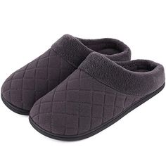 3cd5f96ff4c7b1 Men s and Women s Comfort Quilted Memory Foam Fleece Lining House Slippers  Slip On Clog House Shoes