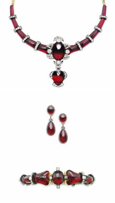 A VICTORIAN GARNET DEMI-PARURE The graduated necklace designed as a tapering line of polished garnet links interspersed with old-cut diamond bar spacers, to the central garnet carbuncle highlight with diamond-set surmount, suspending a further heart shaped garnet and diamond cluster drop, with snake link backchain; together with an articulated bangle and ear pendants en suite, mounted in silver and gold, circa 1860, 37.2, 17.1 and 4.7cm long respectively