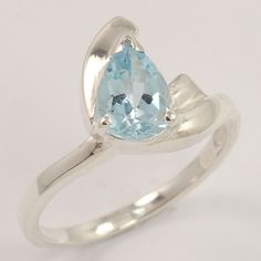 925 Sterling Silver Jewelry Natural BLUE TOPAZ Gemstone Lovely Ring Size US 7.25 #Unbranded