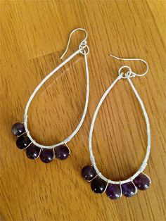 Medium Teardrop Earrings Amethyst by eloiseANDolive on Etsy