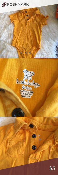 Cutie collared onesie Goldenrod color. Washed & never worn! Koala Kids Bottoms Jumpsuits & Rompers