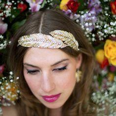 Bridal headdress, beaded feather tiara - gold feather beaded side tiara, Gold Goose Tiara
