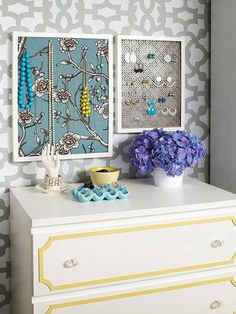 Photo: Lookie Lookie! We spotted our Zamira Allover pattern behind a jewelry storage idea on Better Homes and Gardens.  buy the stencil: http://www.cuttingedgestencils.com/moroccan-stencil-designs.html