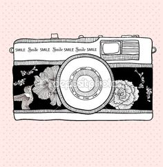 Background with retro camera. Vector illustration. Photo camera by Dovile Pampikaite - Stock Vector