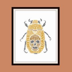 This 8 x 10 giclee fine art print features text from Edgar Allan Poes The Gold-Bug, the story of the discovery of a mysterious golden beetle with a skull image on its back which bites Legrand, launching him into a quest to find pirate Captain Kidds hidden treasure by solving cryptograms and riddles! The original design is created using four different digital methods to achieve the desired outcome and then professionally printed by Finerworks in San Antonio, Texas. The Archival Matte Paper…