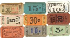 Vintage carnival tickets