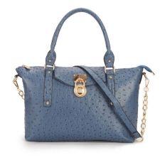 ca76b9e6a10f Michael Kors Hamilton Slouchy Ostrich Large Blue Satchels Outlet Michael  Kors Handbags Outlet, Cheap Michael