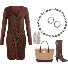 brown knotted dress with boots and 2 tone bag and Mialisia SICILIAN as a necklace and Mialisia Italian Lace earrings http://carolyn.mialisia.com and Jamberry TAUPE VINTAGE ROSE Nails http://woodburn.jamberrynails.net