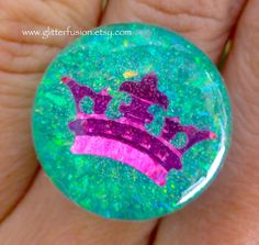 Mint Green and Magenta Sea Queen Resin Statement Ring Mint