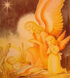 """""""The angels sang through all the night/Until the rising sun,/But little Jesus fell asleep/Before the song was done.""""--Sara Teasdale, Illustration by Helge Artelius"""
