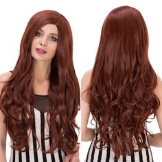 Long Side Parting Wavy Heat Resistant Fiber Wig