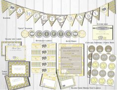 Gray and Yellow Elephant Baby Shower by LittlePartythatCould, $25.00