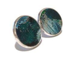 Large studs, Blue ocean ombre Leather Stud Earrings, Leather Earrings, Sapphire Jewelry on Etsy, $17.00