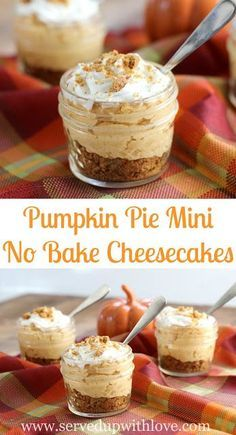 Pumpkin Pie Mini No Bake Cheesecakes recipe from Served Up With Love is the perfect sweet treat for fall that takes just minutes to put together. www.servedupwithlove.com