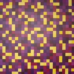 Original Modern Squares Abstract Painting Purple and Yellow