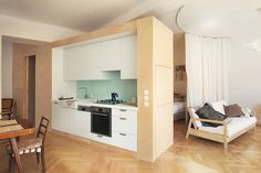 plywood and white, kitchen Pro Art, Wooden Kitchen, Modern Interior Design, My House, Small Spaces, Entryway, Relax, Layout, Cabinet