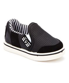 Another great find on #zulily! Black & White Stripe Lined Slip-On Sneakers #zulilyfinds