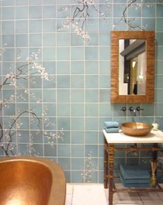 Awesome blue and copper bathroom