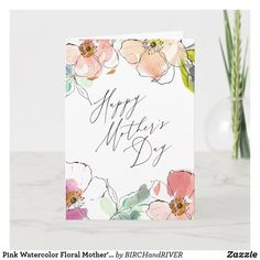 Shop Pink Watercolor Floral Mother's Day Card created by BIRCHandRIVER. Watercolor Birthday Cards, Pink Watercolor, Watercolor Cards, Calligraphy Watercolor, Mothers Day Drawings, Karten Diy, Card Drawing, Paint Cards, Floral Drawing