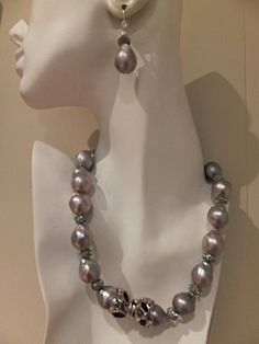 Baroque Silver Pearl Necklace and Earrings $2700.00