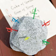 """""""Swords in a stone"""" craft for a knight party."""