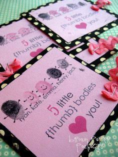 {thumbprint valentines}; maybe make with all 26 (27) thumbprints to give to principal, secretary, and others