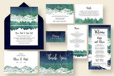 Starry Reflection Wedding Suite by Knotted Design on @creativemarket