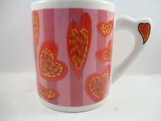 Love Hearts with Candy Red Swirls Pink Mauve Day Tea Coffee Cup Mug Unique