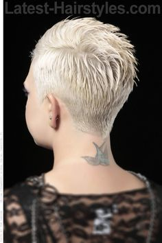 Short Hairstyle with Extreme Side Part Back View