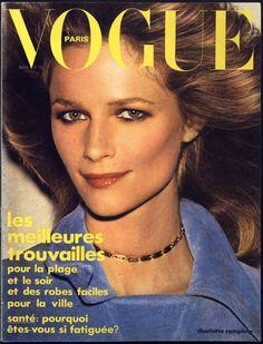 La couverture de la semaine : Charlotte Rampling pour le numéro de mai 1974 de Vogue Paris.