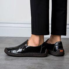 2ffae1483 Men s Comfort Shoes Nappa Leather   Cowhide Spring   Summer Loafers    Slip-Ons Black