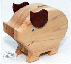 Wood Piggy Bank  AmishWorkshops.com