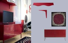 IKEA PS red cabinet in powder coated steel and EKBY KARL/EKBY STÖDIS wall shelf with irregular front edge