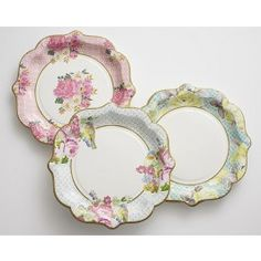 "8.5"" Large Floral Print Paper Plates - Set of 12 