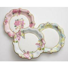 "8.5"" Large Floral Print Paper Plates - Set of 12   CAKEGIRLS"