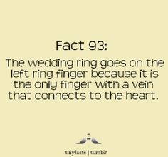 It seems that long before they knew a lot about anatomy it was theorized that there was a vein running directly from that finger to the heart. That is how the tradition of wearing it on the left hand ring finger started. Now that theory has been proven untrue, but because of tradition it has become custom to wear the wedding ring on that finger  source: http://mosaicfrog.com/Rings_an