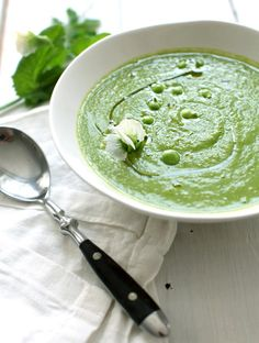 Chilled Parsley and Green Pea Soup from My New Roots stovetop cook 10 min, can serve warm or chilled