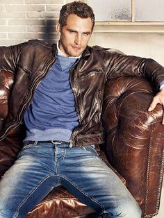 Washed denim, contrast rib, leather - H.E. by Mango F/W 2012