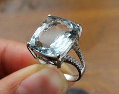 6 Carat Aquamarine Engagement Ring, Diamonds, 14K White Gold. via Etsy.