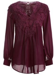 Crochet Floral Long Sleeve Blouse - WINE RED S