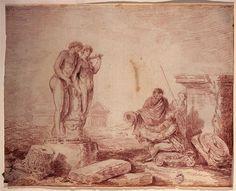 Hubert Robert | Hubert Robert par lui même dessinant à Rome | Images d'Art