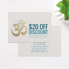 OM Symbol YOGA Instructor Discount Coupon Loyalty Business Card - white gifts elegant diy gift ideas