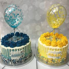 These were made for the loveliest couple for there special babies 💛💙.which is your fave yellow or blue? Beautiful Birthday Cakes, Beautiful Cakes, Amazing Cakes, Pretty Cakes, Cute Cakes, Yellow Birthday Cakes, Balloon Cake, Colorful Cakes, Cake Decorating Tips