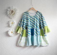 plus size bohemian clothing | Plus Size Clothing Bohemian Top Blue Tunic Green Shirt Eco Friendly ...