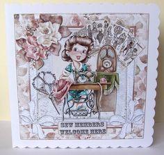 Vintage Sew Card Front by Margaret McCartney