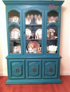 This Pinterest Life: Chalk Paint China Cabinet Redo