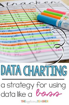 Data Charting- the easiest way I've found to comb through data in a powerful and meaningful way. After completing a cycle with this process, I have goals, assessments, and lesson plans for meeting the needs of all my learners. No more wasting time with un Student Data Tracking, Student Data Binders, Student Data Walls, School Data Walls, Student Data Forms, Goal Tracking, Student Goals, Data Folders, Evaluation